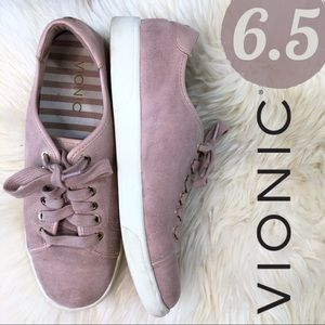 Vionic Sunny Brinley Blush Pink Suede Low Sneakers